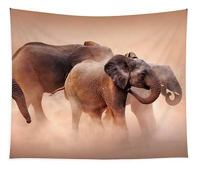 Elephants In Dust Tapestry