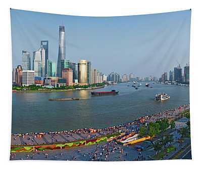 Elevated View Of Skylines, Oriental Tapestry