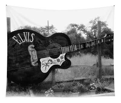 Elvis Guitar In Black And White Tapestry