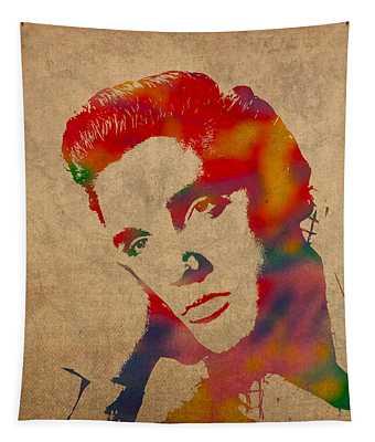 Elvis Presley Watercolor Portrait On Worn Distressed Canvas Tapestry