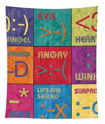 Emoticons Patch Tapestry