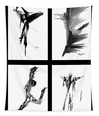 Emotions In Black - Abstract Quad Tapestry