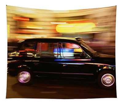 England, London, Black Cab In The Night Tapestry