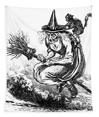 Engraving Of Ugly Old Witch Riding Tapestry