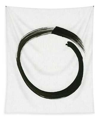 Enso #1 - Zen Circle Minimalistic Black And White Tapestry