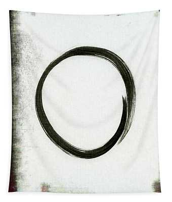 Enso #2 - Zen Circle Abstract Black And Red Tapestry