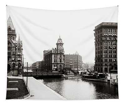 Erie Canal On Salina Street In Syracuse New York - Circa 1904 Tapestry