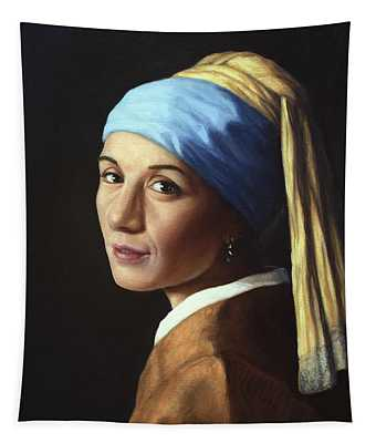 Erika With A Pearl Earring Tapestry