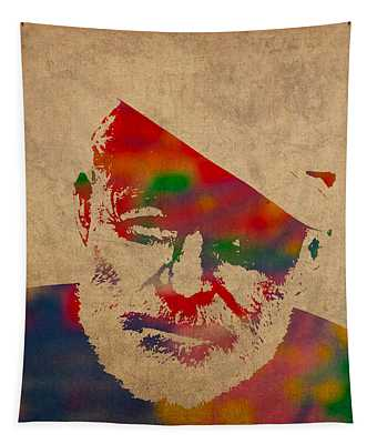 Ernest Hemingway Watercolor Portrait On Worn Distressed Canvas Tapestry