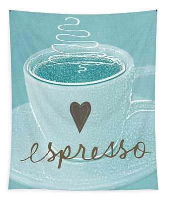 Espresso Love In Light Blue Tapestry