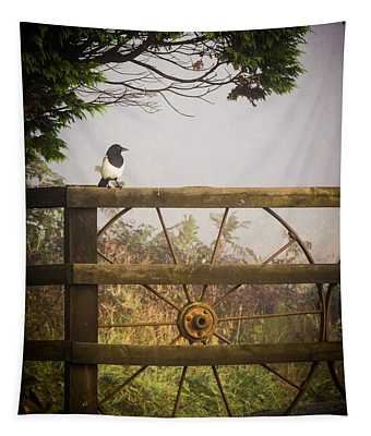 Tapestry featuring the photograph Eurasian Magpie In Morning Mist by James Truett