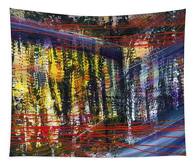 Evening Pond By A Road Tapestry