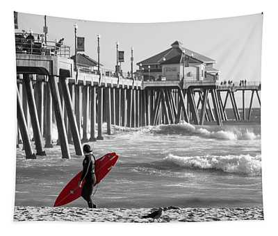 Existential Surfing At Huntington Beach Selective Color Tapestry