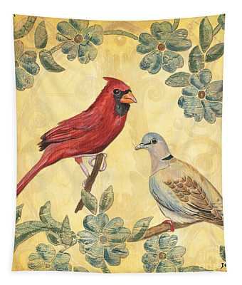 Exotic Bird Floral And Vine 2 Tapestry