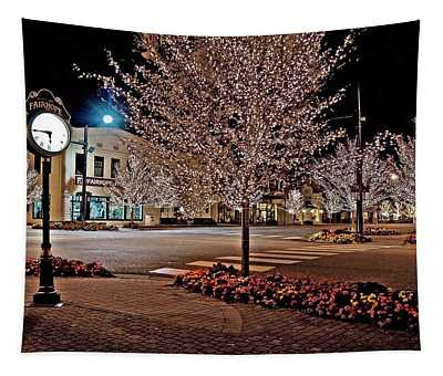 Fairhope Ave With Clock Night Image Tapestry