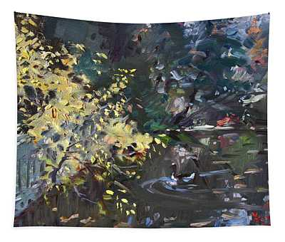 Fall By The Pond Tapestry