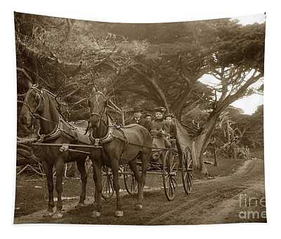 Family Out Carriage Ride On The 17 Mile Drive In Pebble Beach Circa 1895 Tapestry