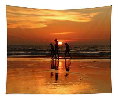 Family Reflections At Sunset - 1 Tapestry