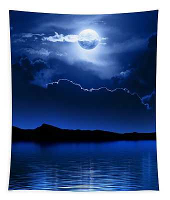 Fantasy Moon And Clouds Over Water Tapestry