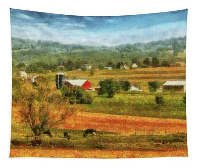 Farm - Cow - Cows Grazing Tapestry
