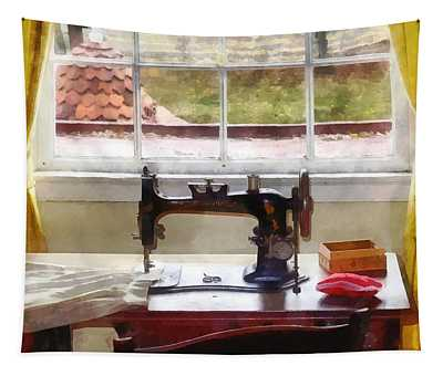 Farm House With Sewing Machine Tapestry