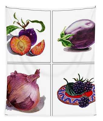 Farmers Market Gifts  Purple Vitamins Tapestry