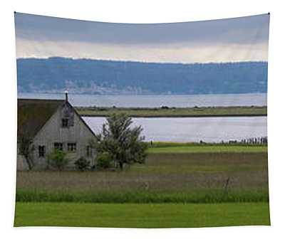 Farmhouse In A Field Along Shore Tapestry