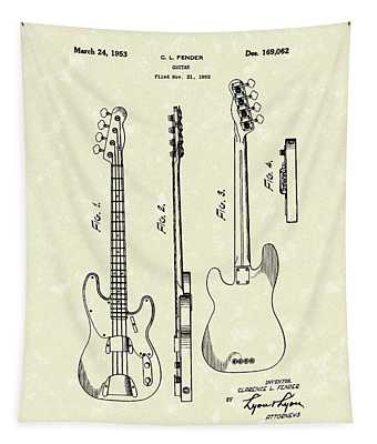 Fender Bass Guitar 1953 Patent Art  Tapestry
