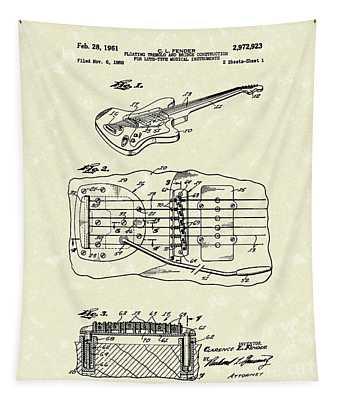 Fender Floating Tremolo 1961 Patent Art Tapestry