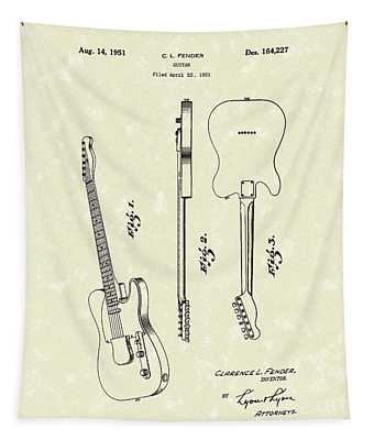 Fender Guitar 1951 Patent Art Tapestry