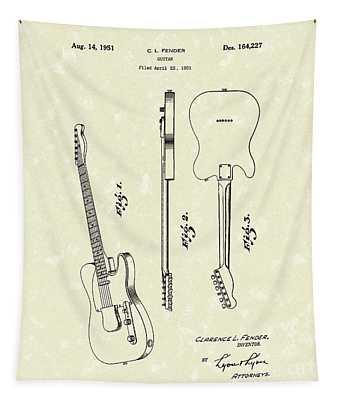 Fender Guitar 1951 Patent Art Tapestry