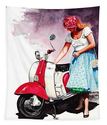 Fifties Lambretta Girl Tapestry