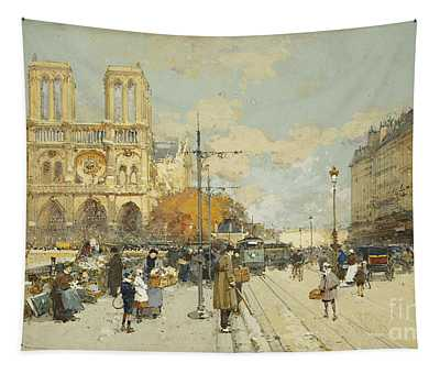 Figures On A Sunny Parisian Street Notre Dame At Left Tapestry