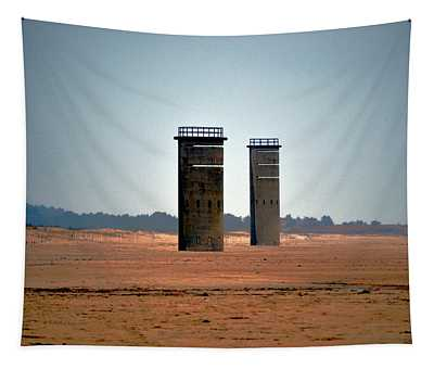 Fct5 And Fct6 Fire Control Towers On The Beach Tapestry