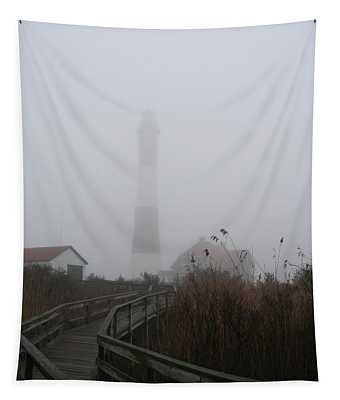 Fire Island Lighthouse In Fog Tapestry