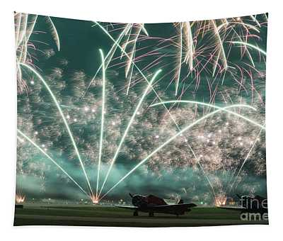 Fireworks And Aircraft Tapestry