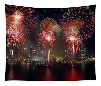 Fireworks Display At Night On Freedom Tapestry