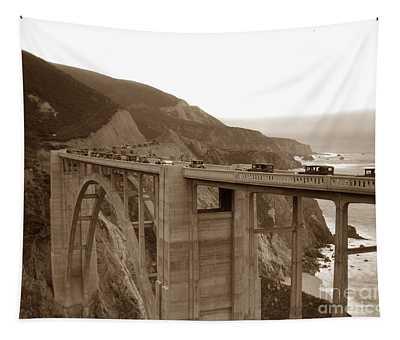 First Cars Across Bixby Creek  Bridge Big Sur California  Nov. 1932 Tapestry