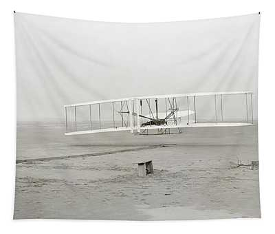 First Flight Captured On Glass Negative - 1903 Tapestry