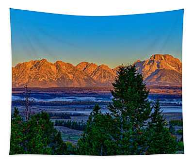 First Light On The Tetons Tapestry