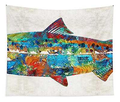 Fish Art Print - Colorful Salmon - By Sharon Cummings Tapestry