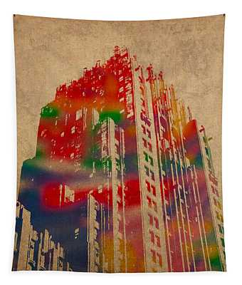 Fisher Building Iconic Buildings Of Detroit Watercolor On Worn Canvas Series Number 4 Tapestry