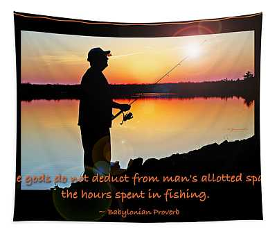 Fisherman Silhouette Sunset Mountain Lake Fishing Proverb Tapestry
