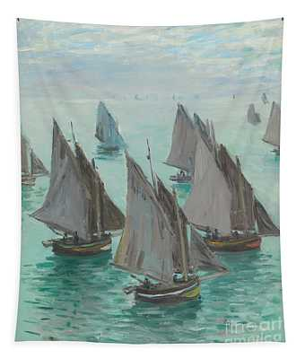 Fishing Boats Calm Sea Tapestry