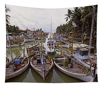 Fishing Boats In Small Village Harbor Tapestry