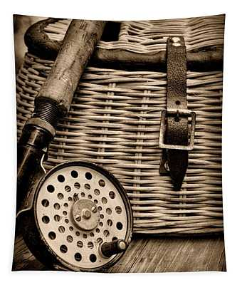 Fishing - Fly Fishing - Black And White Tapestry