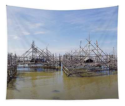 Fishing Platforms Along Coast Of Madura Tapestry