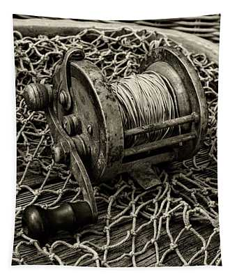 Fishing - That Old Fishing Reel In Black And White Tapestry