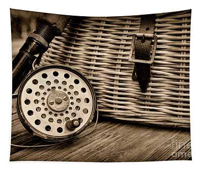 Fishing - Vintage Fly Fishing - Black And White Tapestry
