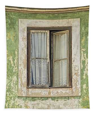 Flaking Wood Window Tapestry